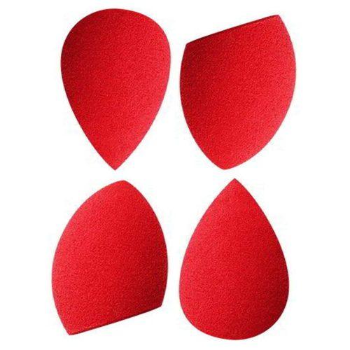PAC Cosmetics Mini Sponge Set (Water Drop, Olive Cut) (Red) (4 Pc)