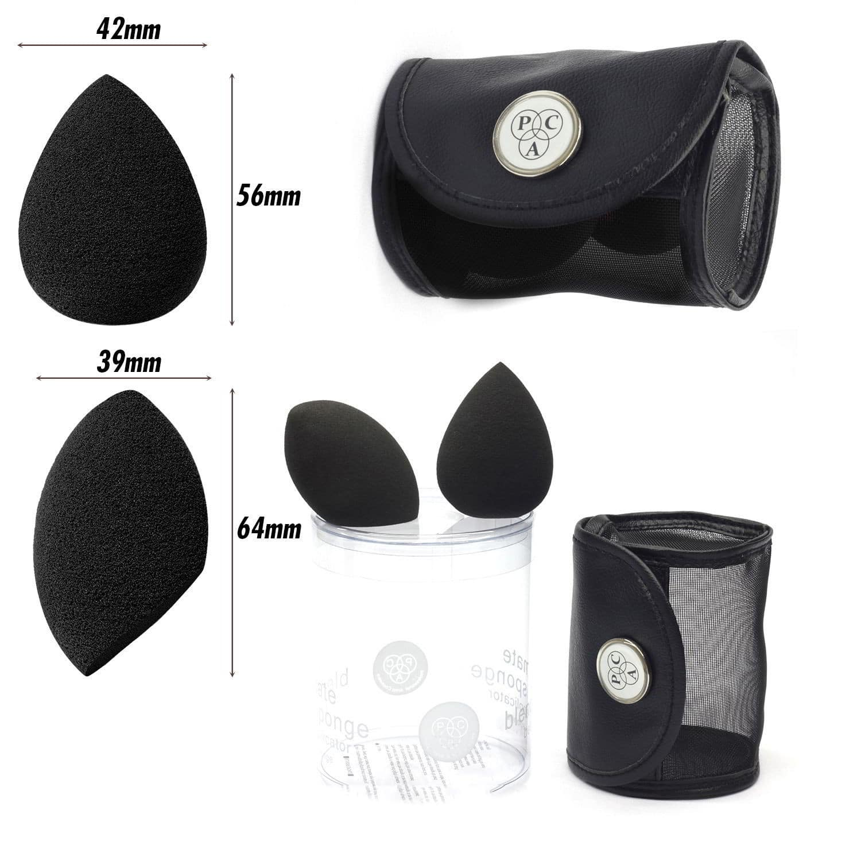 PAC Cosmetics 3D Sponge Set (Water Drop, Olive Cut) (Black) (2 Pc)