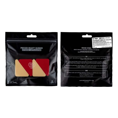 PAC Cosmetics Pressed Sponge (Triangle) (Red, Cream) (4 Pc)