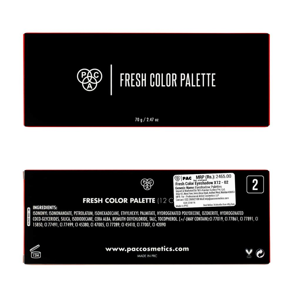 PAC Cosmetics Fresh Color Eyeshadow X12 - 02 EYPL_FRSH12X02 EYES