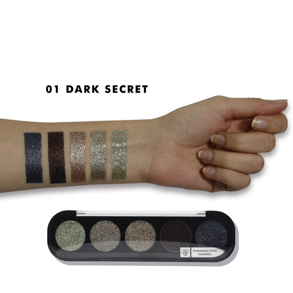PAC Cosmetics Glitter Eyeshadow X5 - 01 (Dark Secret) EYPL_GLITR5X01 EYES