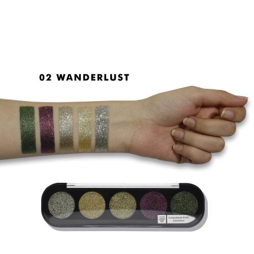 PAC Cosmetics Glitter Eyeshadow X5 - 02 (Wanderlust) EYPL_GLITR5X02 EYES