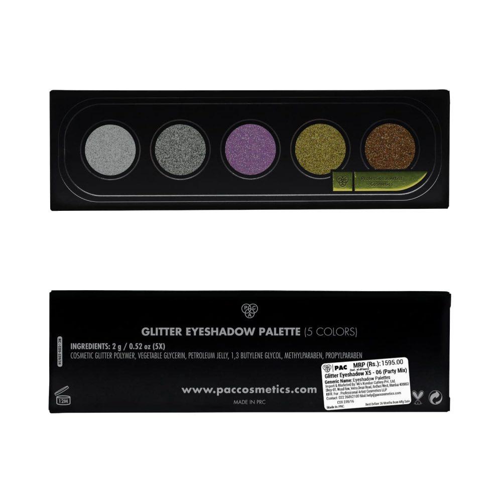PAC Cosmetics Glitter Eyeshadow X5 - 06 (Party Mix) EYPL_GLITR5X06 EYES